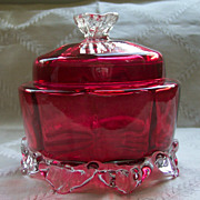 Cranberry Covered Bowl with Clear Applied Finial and Bottom Ruffle