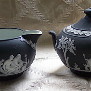 Vintage Wedgwood Black Jasperware Creamer and Sugar