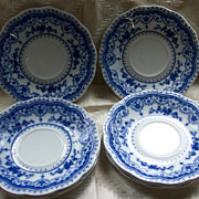 Johnson Bros Flo Blue &quot;Dorothy&quot; Saucers - Set of 8 - Circa 1913