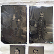 Four Children Tintypes - Late 1800's