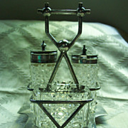 Individual Cut Glass Cruet Set