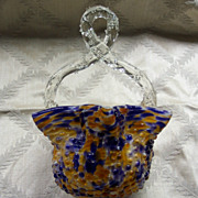 Czech. Art Glass Basket - Thorn Handle