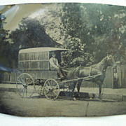 Tintype of Horse and Delivery Wagon - Late 1800's