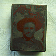 Copper Printers Block of Man in Cowboy Hat