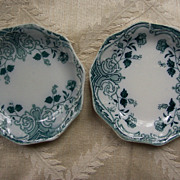 Set of Two Merion, England Transferware Butter Pats - Circa 1897