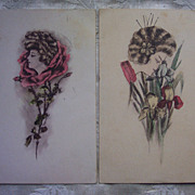 Pr of Cobb Shinn Artist Signed Watercolor Women Postcards  - 1909