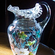 Clear Blown Glass Pitcher with Heavy Enamelling