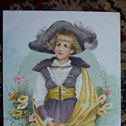 Lg. Garland Stove Trade Card - Pensive Girl