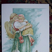 Lg. Garland Stove Trade Card with Two Children