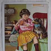 """Give Me A Bite"" Garland Stove Large Trade Card"
