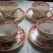 SALE Four  Royal Stafford Cups and Saucers - Oriental Design - 1912