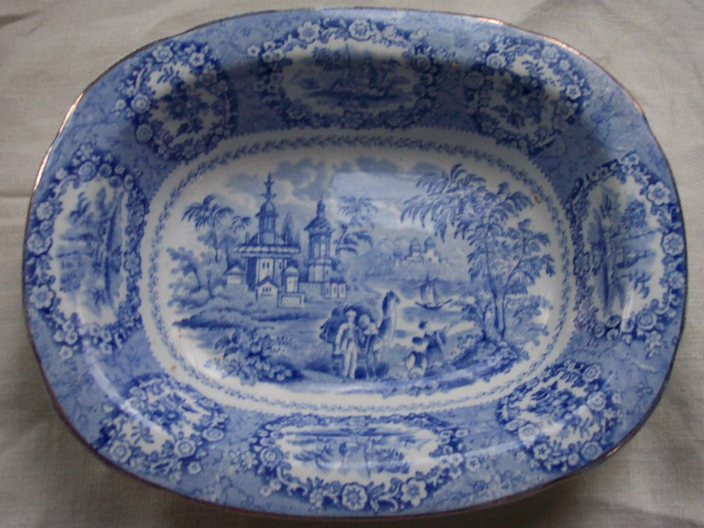 "Ridgway ""Oriental"" Blue Transferware Serving Bowl"