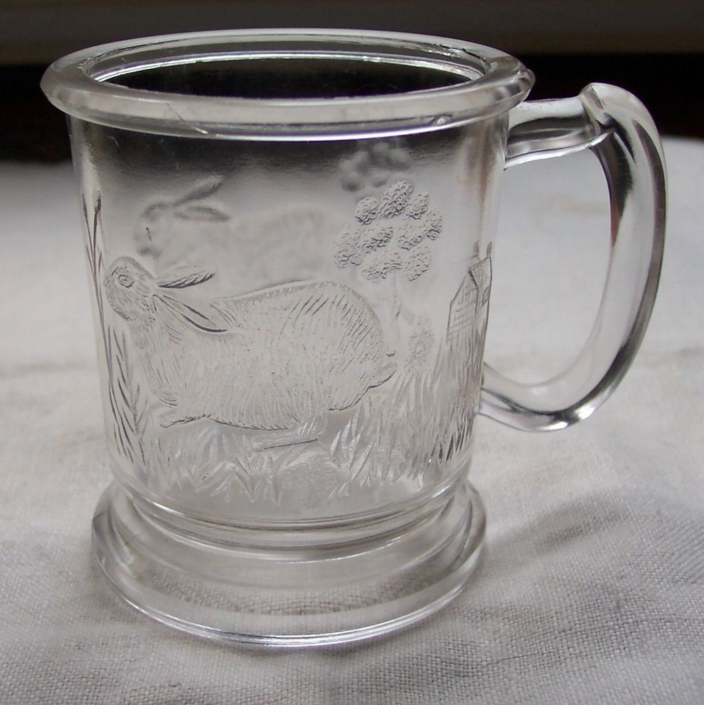Child's EAPG Mug with Rabbits