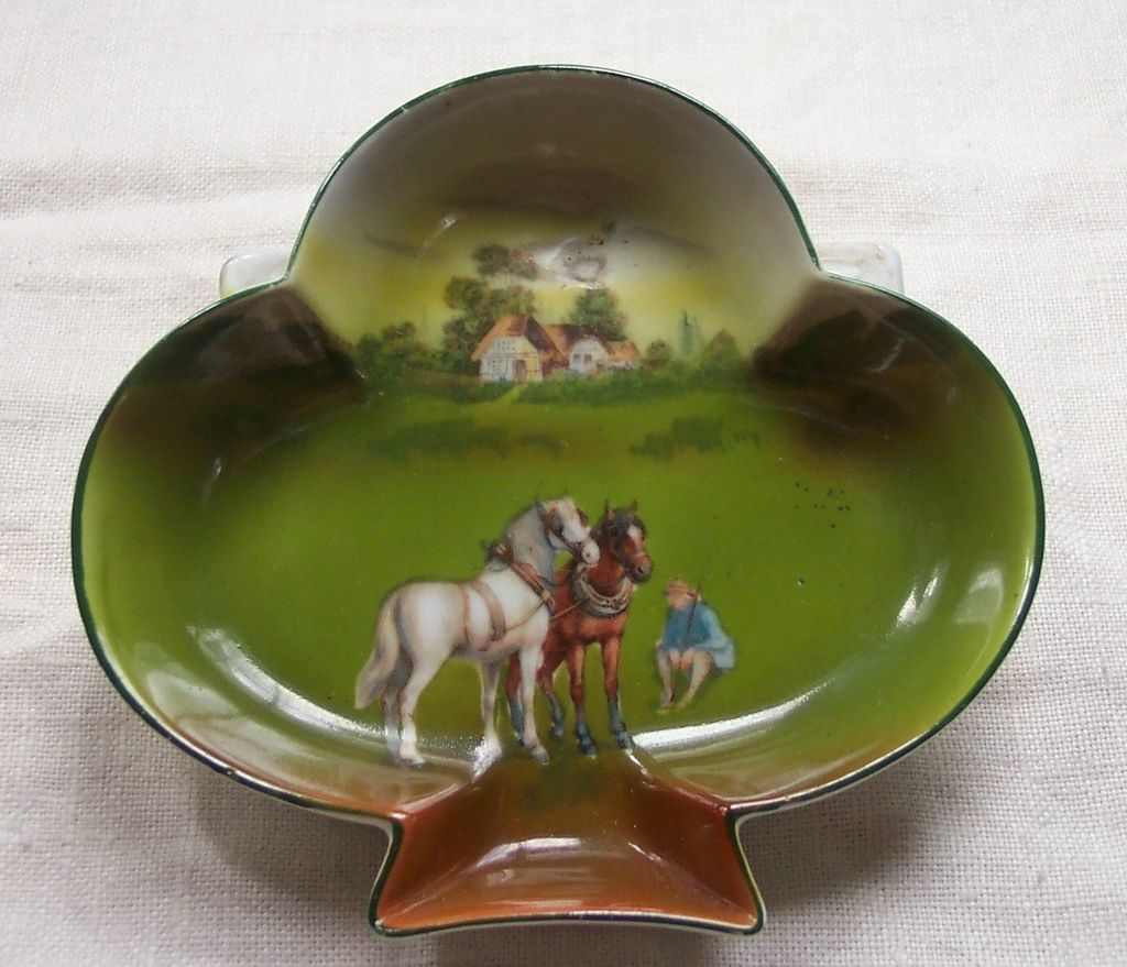 Club Shaped Royal Bayreuth Dish with Horses - Blue Mark