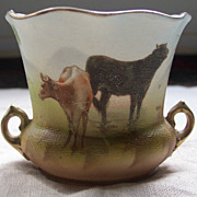 Royal Bayreuth Tapestry Cow Vase - Blue Mark