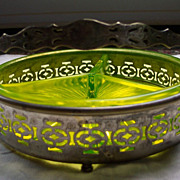 REDUCED Vaseline Divided Candy Dish with Silverplate frame