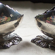 Pair of Meriden Silverplate Egg Shaped Salt Cellars