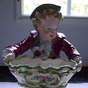REDUCED Large Figurine of Boy with Dog Holding Tub