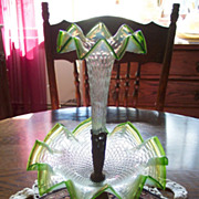 SALE Clear, Green Opalescent Single Horn Epergne
