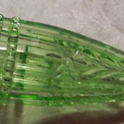 Green Uranium Glass Car Vase