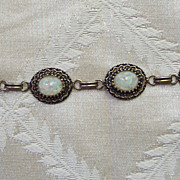 Old Bracelet with Opal Chip Cabochons
