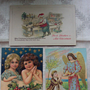 Two Glitter Christmas and Angel Postcards - Early 1900's