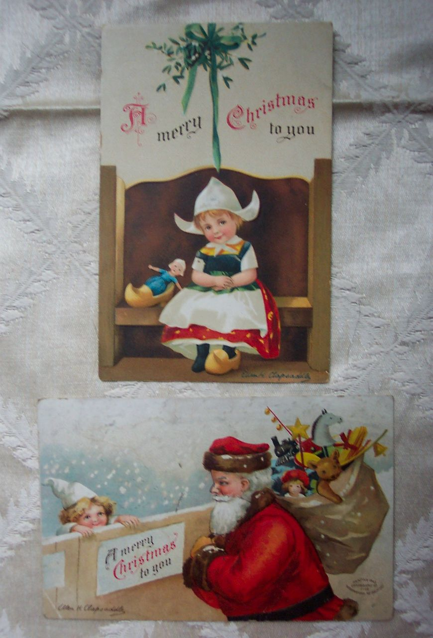 Set of Two Clapsaddle Christmas Postcards - 1907