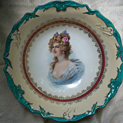 Large Portrait Bowl with Teal Border - Lovely