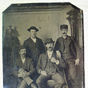1/2 Plate Tin Type of 4 Men