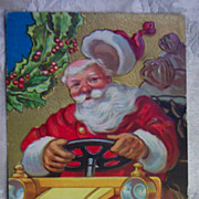 SOLD Santa Driving Car Postcard - 1910 - Red Tag Sale Item