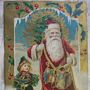 REDUCED Santa with Tree and Little Girl Walking - Early 1900s
