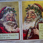 REDUCED Pr of Smoking Santa Head Shots - 1908 and 09