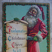 REDUCED Santa's Proclamation - 1914