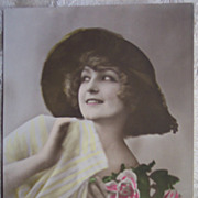 Lady with Roses Tinted Photo Postcard - Early 1900's