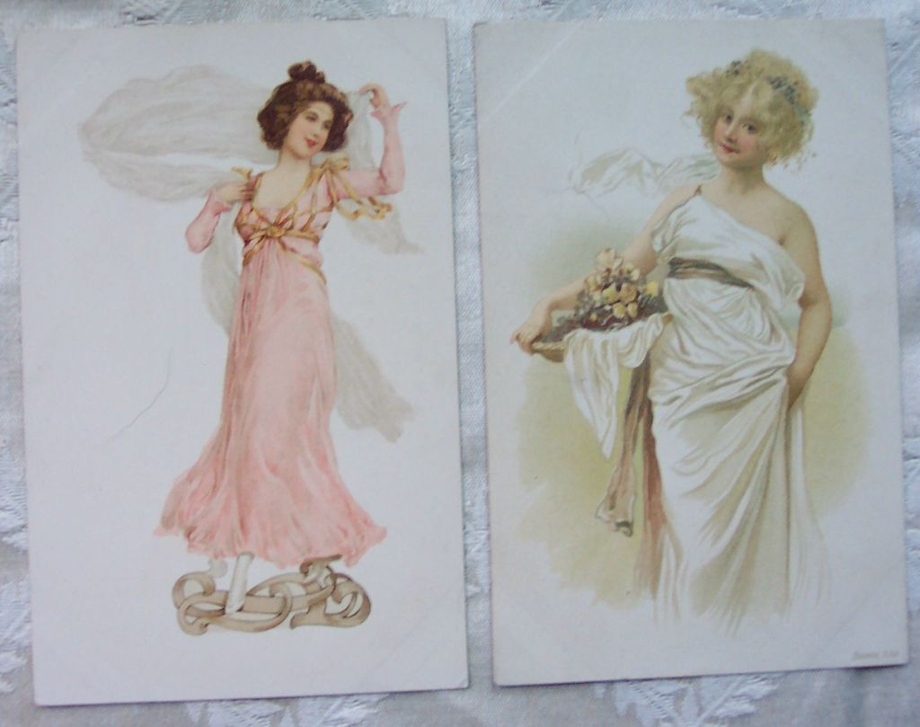 Set of Two French Ladies Postcards - Early 1900's