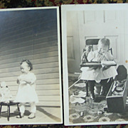 Fussy Baby's and Their Toys Real Photo Postcards