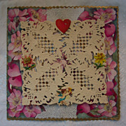 3 D Valentine with Lace, Cupid and Flowers