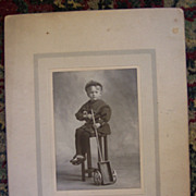 Little Boy with Toy Wagon Cabinet Card - Early 1900's
