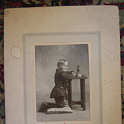 Kneeling Little Boy Cabinet Card - Early 1900's
