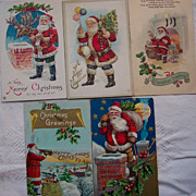 Lot #6 of Six Santa Postcards - Early 1900's