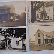 Set of Four Postcards of People at Their Homes - Early 1900's