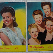 RCA Victor Artist Promotional Postcards - 1940's Set 4
