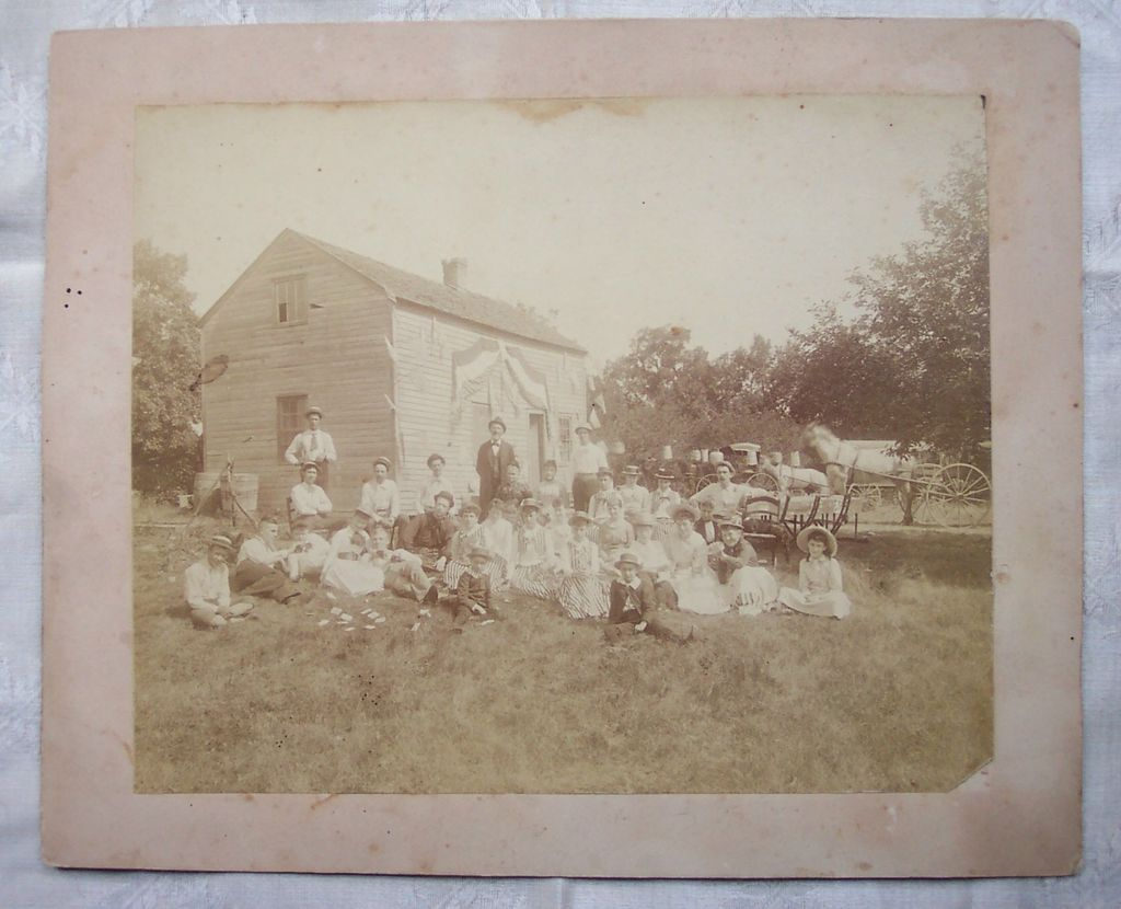 Extra Large Mounted Photo of a Fourth of July Picnic - Early 1900's