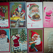 Nice Lot of Eight Santa Postcards - Early 1900's thru 1921