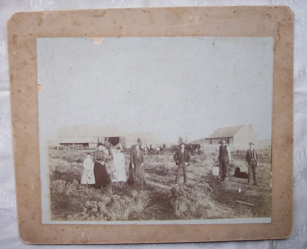 Large Photo Mounted on Board of Family and Farm - Early 1900's