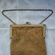 Vintage Gold Beaded Ladies Handbag