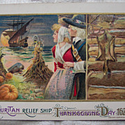 Winsch &quot;Puritan Relief Ship Thanksgiving Day 1620 Postcard - 1912