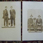 Set of Two Postcards of 2 Men and a Dog - Early 1900's
