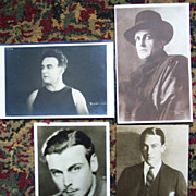 1 Postcard, 3   Photo Cards of Early Actors