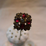 Old Hat Pin with Red and Clear Stones -  8 1/2 inches